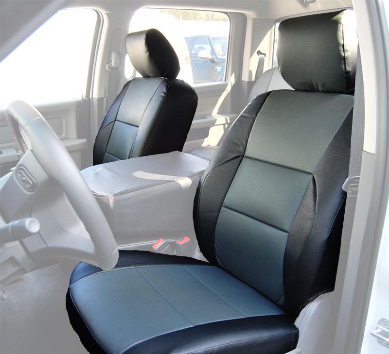 dodge ram 2009 2016 black charcoal s leather custom made fit front seat cover ebay. Black Bedroom Furniture Sets. Home Design Ideas