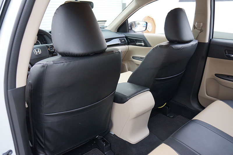 honda accord   blackred sleather custom  fit front seat cover