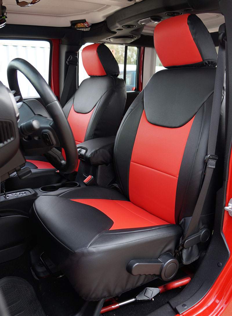 Jeep Wrangler Seat Covers >> JEEP WRANGLER 2013-2016 BLACK/RED S.LEATHER CUSTOM MADE