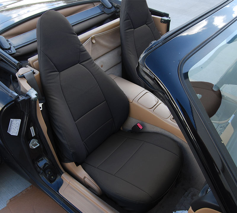 mazda miata 2001 2005 black s leather custom made fit front seat cover ebay. Black Bedroom Furniture Sets. Home Design Ideas