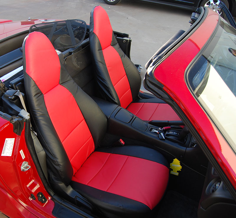 mazda miata 2001 2005 black red s leather custom made fit front seat cover ebay. Black Bedroom Furniture Sets. Home Design Ideas